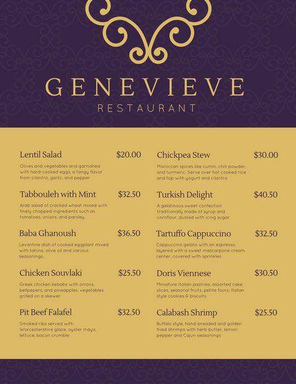 violet and gold modern elegant menu f b pinterest elegant