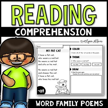 Inside you will find 21 cvc word family poems. Every poem is engaging, easy to read and comprehend. Your little readers will love to read them to their classmates and parents! Each page includes a short poem, matching clip art image, and three prompts. ⟶ [COLOR]