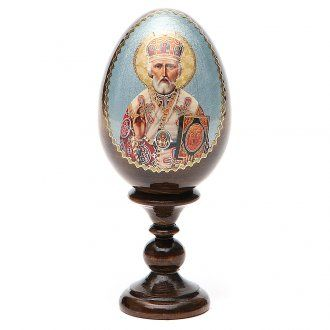 Russian Egg St. Nicholas découpage 13cm | online sales on HOLYART.co.uk