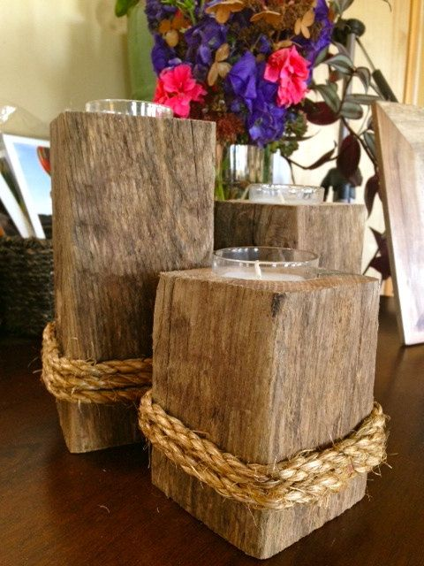 Reclaimed Wood Candle Holder Set of 3 by BlueDoorsDesign on Etsy, $26.00