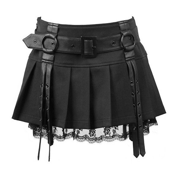 A pleated miniskirt by gothic clothing brand Punk Rave, cotton hem accented with matte leather-look straps and black lace.