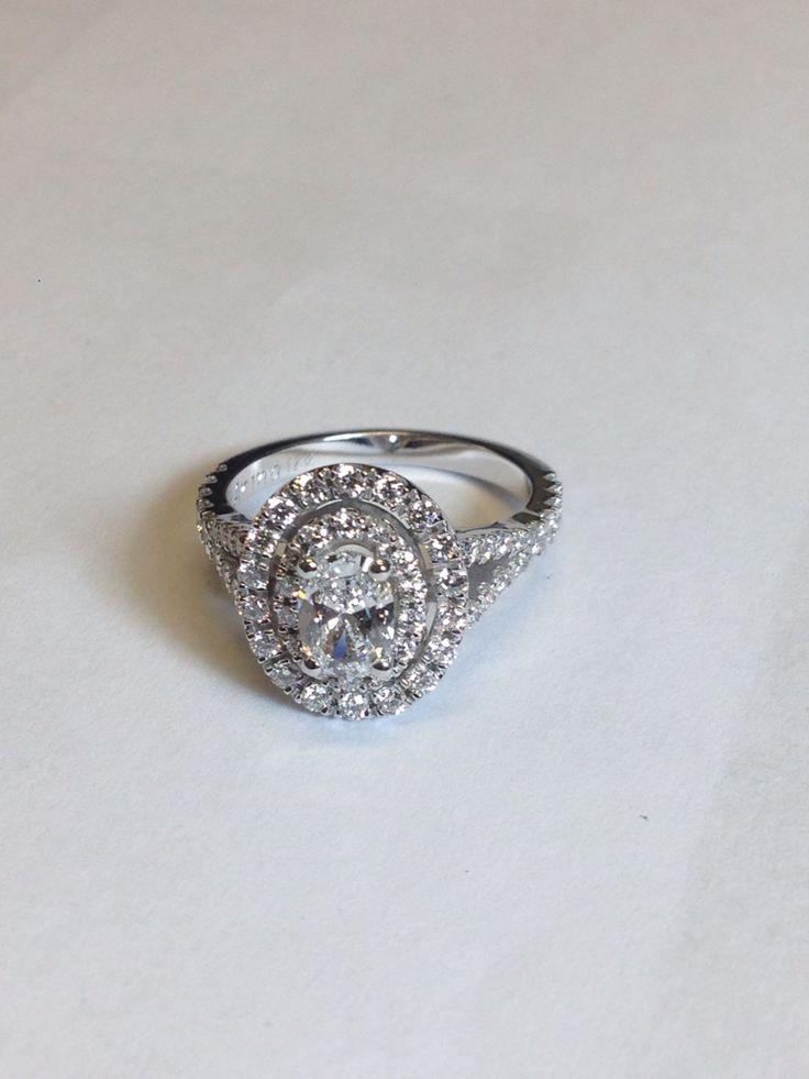 Oval double halo engagement ring. Custom made www.abrahamsjewellery.com #abrahamsjewellery #ovalengagementring #engagementrings #doublehalo