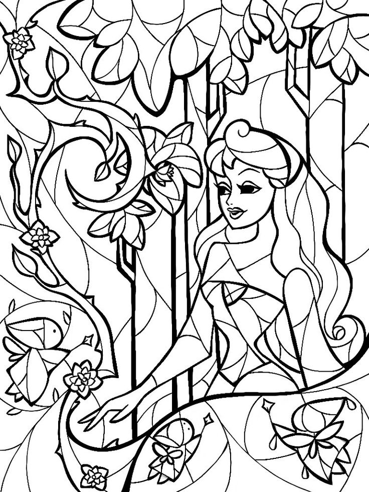 Stained Glass Sleeping Beauty Coloring Sheet by Mandie ...   disney coloring pages for adults printable