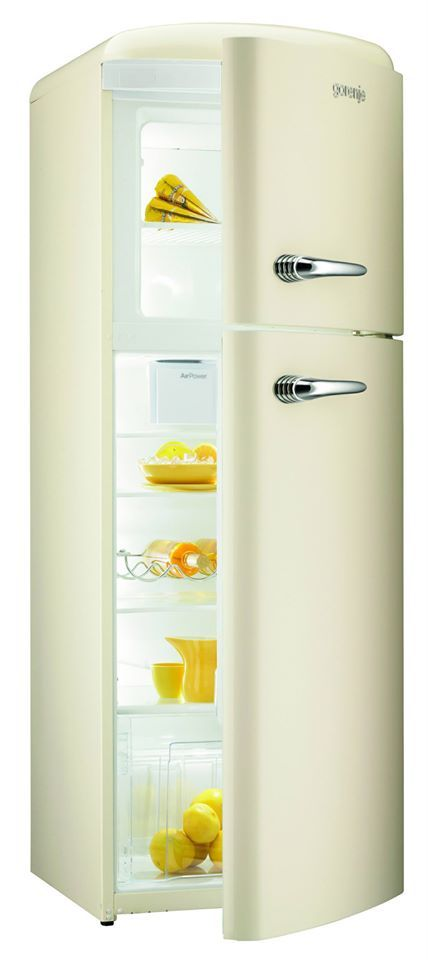 RF60309OC - Retro Champagne Freestanding Fridge Freezer