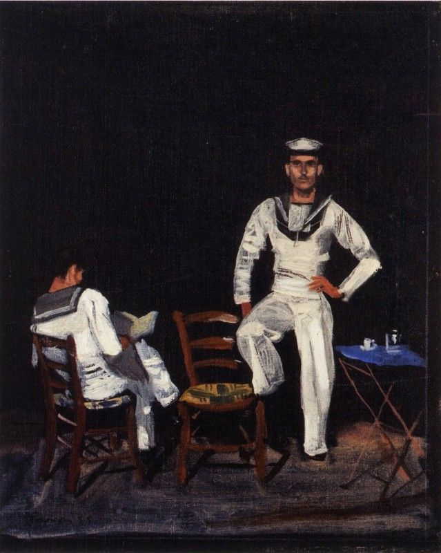 Σπουδή ναυτών το βράδυ, 1955 Γιάννης Τσαρούχης. Ιδιωτική συλλογή.