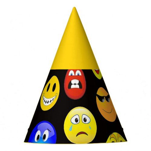 Colorful Emoji Faces Party Hat