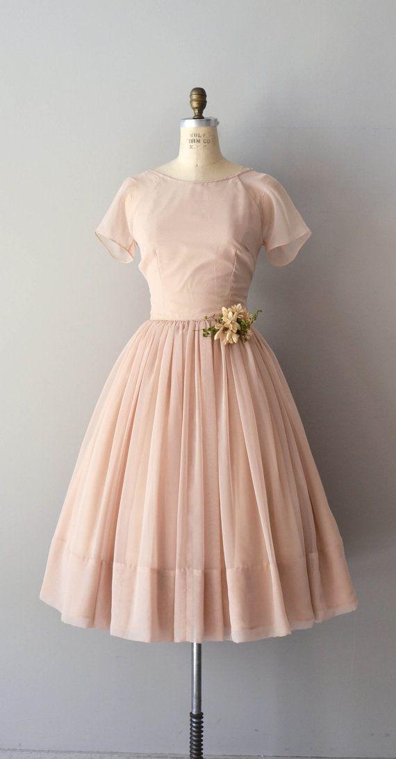 beautiful blush-colored chiffon dress / vintage 50s / DearGolden