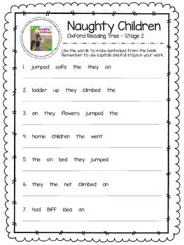 Oxford Reading Tree Stage 2 - Naughty Children Close Reading Activity.  Includes a writing task and verb work task.