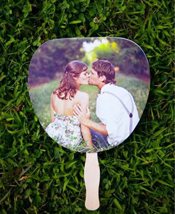Wedding Ideas : Engagement Photo Idea - Use Them on Your Ceremony Program Fans