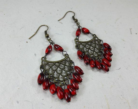 Red Boho Chic EarringsGypsy JewelryBridesmaidGift by LaLannaThai