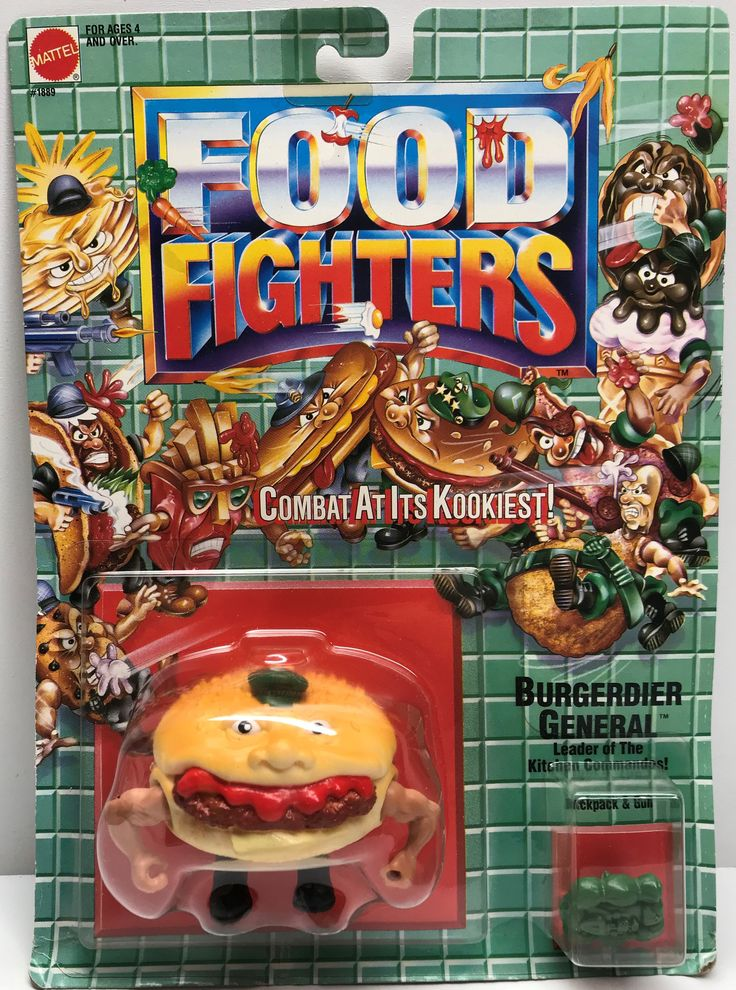 We always have the hottest Vintage Toys at The Angry Spider.  Now available: TAS038068 - 1988 ...  Check it out here: http://theangryspider.com/products/tas038068-1988-mattel-food-fighters-burgerdier-general?utm_campaign=social_autopilot&utm_source=pin&utm_medium=pin