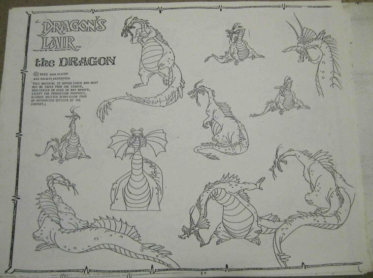 Don Bluth Dragons Lair Of Dragon Animation Model Sheet Production Drawing Cel