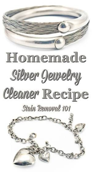 Homemade silver jewelry cleaner recipe, that is frugal and natural, that keeps your jewelry looking great {on Stain Removal 101}