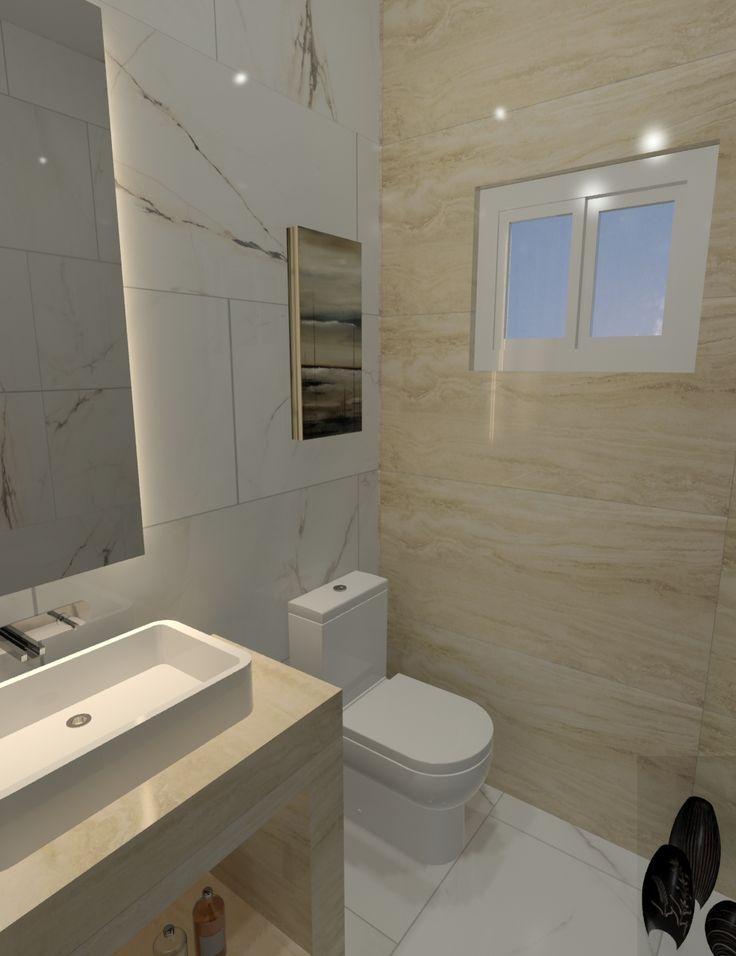 Piso y Muros: Paonazzetto Bianco - Portobello Muro Ventana: Travertino Navona Crema - Portobello