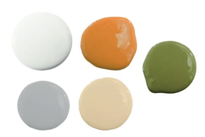 Orange, Gray, and Green Color Scheme