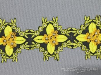 Jacquard band 60mm bloem olijf geel