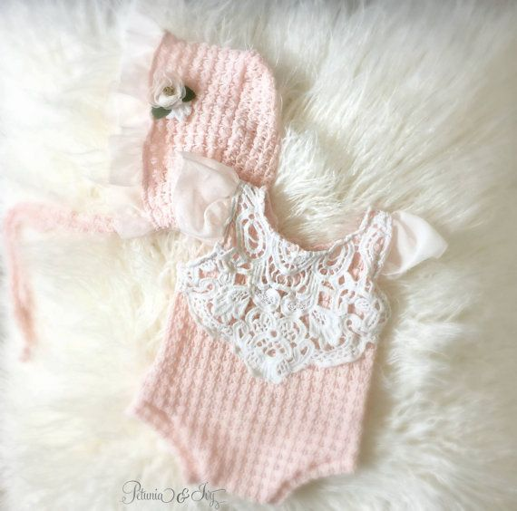 Newborn Pale Peach Romper and Bonnet Set Baby by PetuniaandIvy