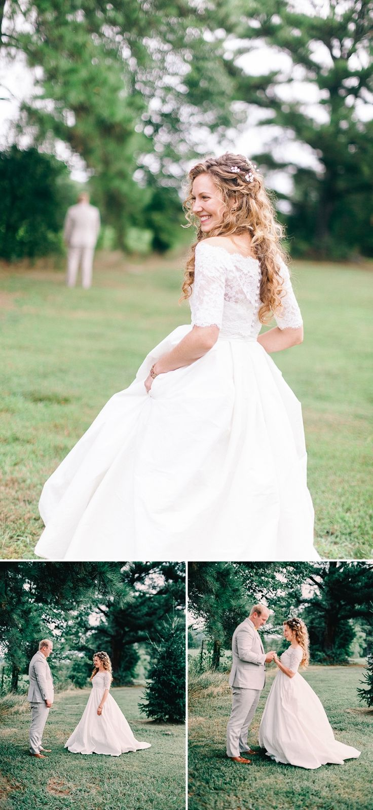 Featured on The Bridal Theory! Our quaint country wedding. Antebellum style off the shoulder alencon lace wedding dress- chiffon ballgown with empire waist.