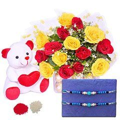 Send Rakhi with Beautiful Roses and   teddy at same day delivery   Online rakhi to india  #rkahibazaar.com