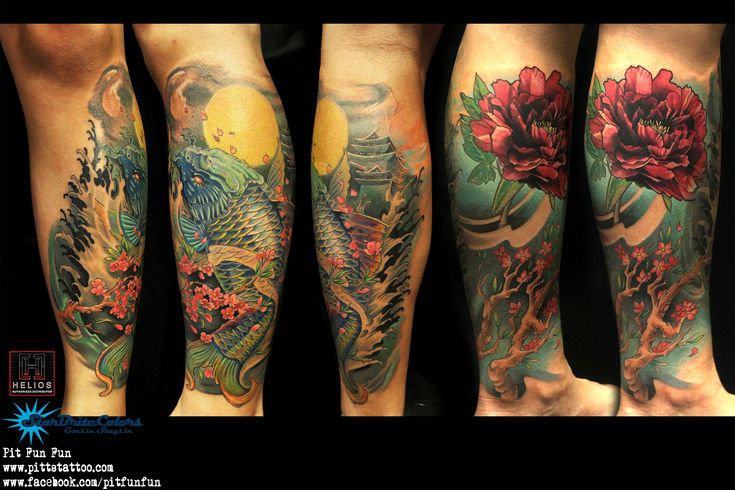 Complete oriental leg piece , koi fish ,peony and cherry blossom by Pit Fun . www.pittstattoo.com facebook : fun fun official page  instagram : pitfunfun