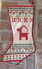 House of Hatten Cross Stitch Christmas Stocking Swedish Yule Goat Scandinavian