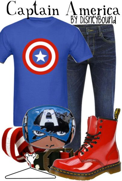 Captain America inspired outfit.  Love the belt buckle, not feeling the boots, but still totally a doable outfit.