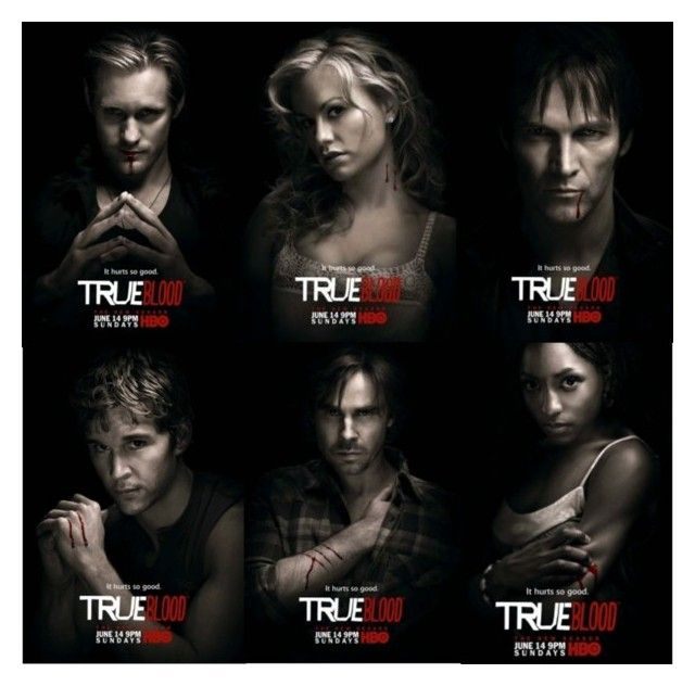 """""""True Blood Fans!!!"""" by lunablackout ❤ liked on Polyvore featuring art, bill compton, sookie, sam merlotte, tara thorton, eric, true blood and jason stackhouse"""