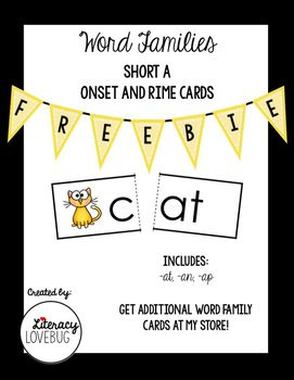 This file contains short A word family cards to be used in a variety of ways in your classroom.  All words follow the CVC pattern.  Use these cards in your guided reading groups, at centers, for remediation or for whole group instruction.  Each word is broken into the onset and rime.