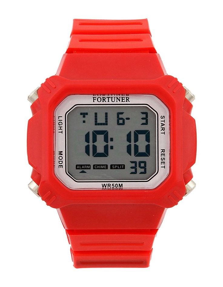 Red Rubber Fr441 Watch by Fortuner. This rubber watch is water resistant, strap length 26 cm, diameter 3.5 cm, trendy digital watch for your everyday use, rubber watch that look so trendy, perfect for you who like sporty watch. http://www.zocko.com/z/JICO6