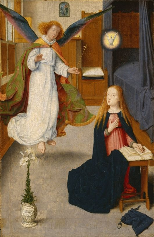 Gerard David  (Netherlandish, ca. 1455–1523). The Annunciation, 1490, Oil on oak panel, (34.8 x 23.3 x 2.5 cm)    — The Detroit Institute of Arts