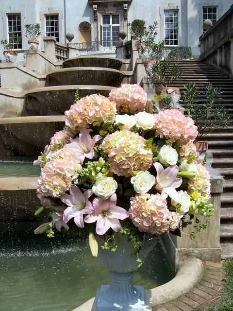 Lush Altar Flower Arrangement Featuring Pink Hydrangeas