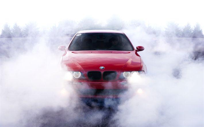 Download imagens BMW M5, E39, fumo, deriva, vagões, vermelho m5, BMW