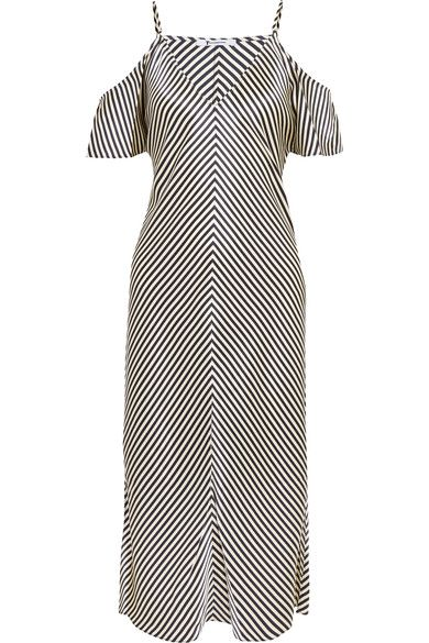 T by Alexander Wang - Cold-shoulder Striped Silk-satin Midi Dress - Navy - US2