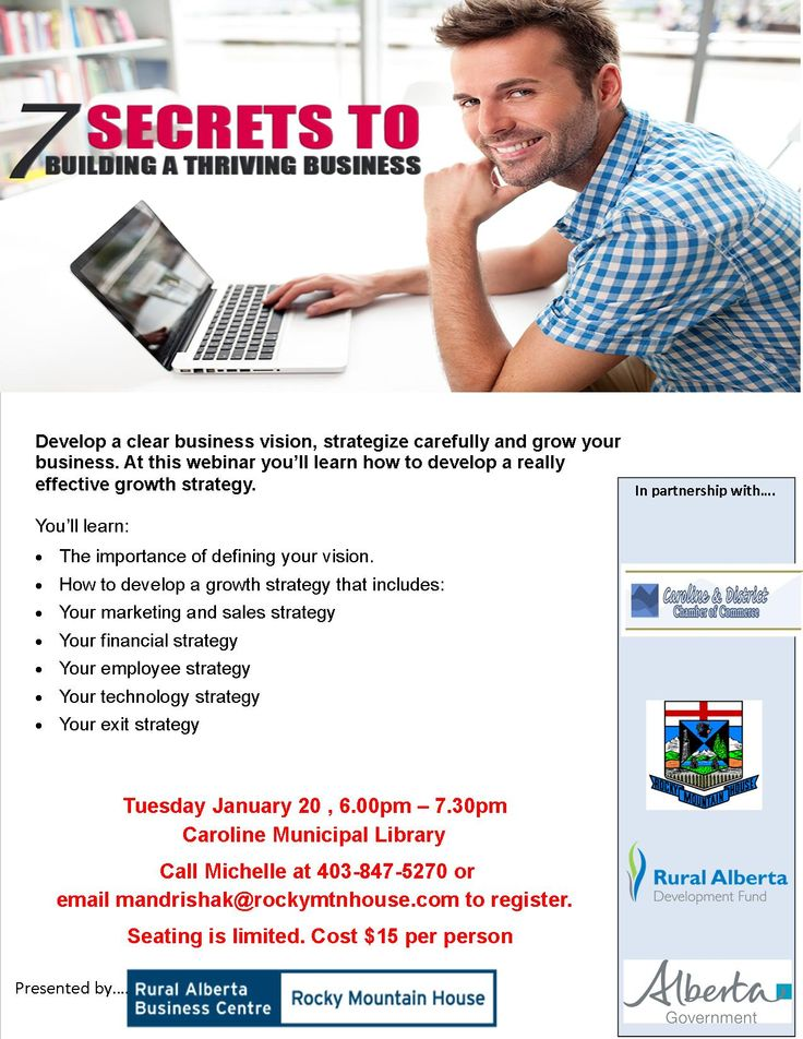 Start the new year off right! Learn the 7 secrets to building a thriving small business at the Caroline Library.