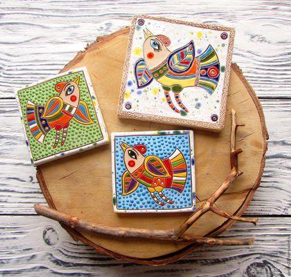 """Элементы интерьера ручной работы. Ярмарка Мастеров - ручная работа. Купить Изразцы керамические """"Птицы"""" (сет из 3 х штук). Handmade."""