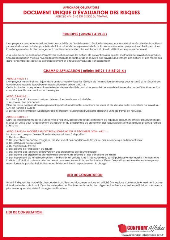 © Conform'Affiches : Document Unique Évaluation des Risques DUER
