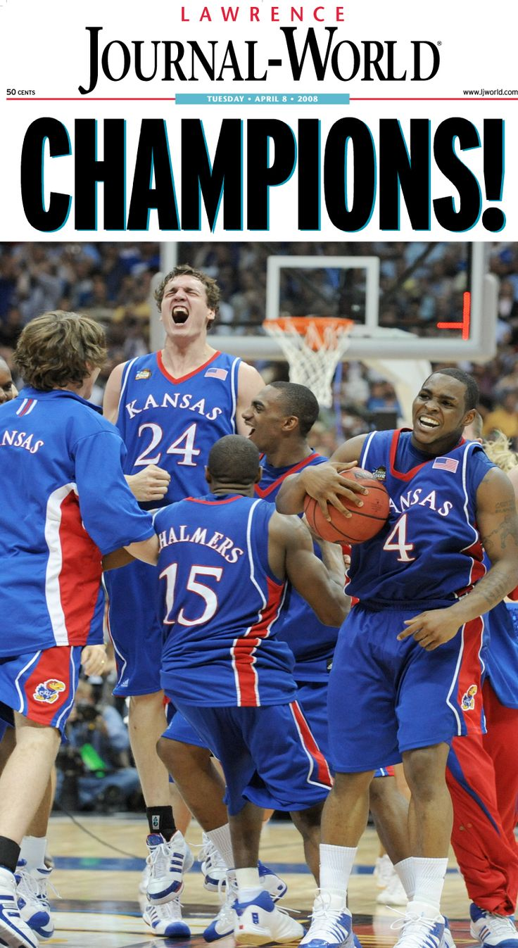 The Journal-World front page after Kansas beat Memphis to win the 2008 NCAA basketball championship.