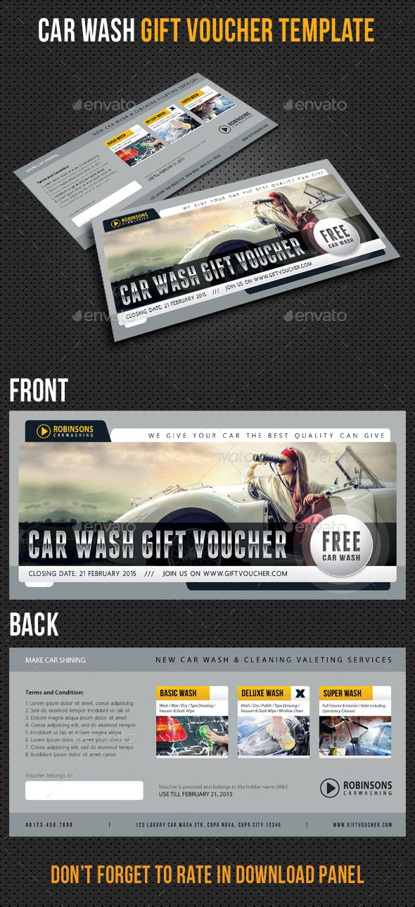 Car Wash #Gift #Voucher Template V03 - #Cards & #Invites Print Templates Download here: https://graphicriver.net/item/car-wash-gift-voucher-template-v03/10456430?ref=alena994