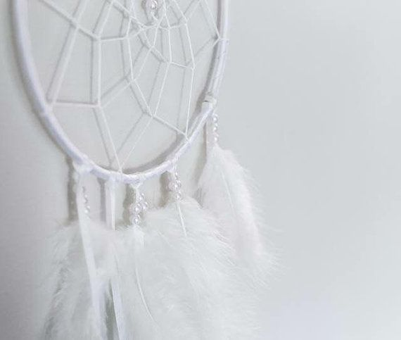 White Boho Dream Catcher with Unique Lace by ExpressiveSewing