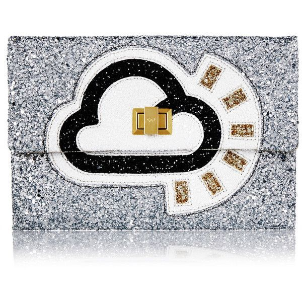 Anya Hindmarch Valorie glitter-finished canvas clutch (€180) ❤ liked on Polyvore featuring bags, handbags, clutches, white canvas handbag, anya hindmarch, glitter handbags, embellished handbags and anya hindmarch purse