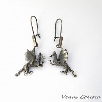 Kolczyki srebrne - Smok wawelski szary#kolczyki srebrne smoki#sklep internetowy www.galeria.sklep.pl#kolczyki#biżuteria#silver#oksydowana biżuteria#venus galeria