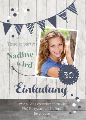 Einladung Zum Geburtstag In Blautönen Mit Foto Und Holz
