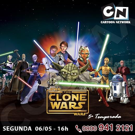 """Ae, criançada! Hoje estreia a 5ª temporada de """"Star Wars: The Clone Wars"""", no Cartoon Network.  Os irmãos recentemente reunidos Savage Opress e Darth Maul espalham terror e violência através da galáxia.     Vai assistir? Curte ai!    http://www.clarotv.br.com"""