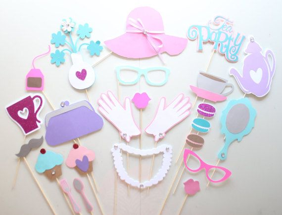 Tea Party Photo Booth Props/Princess Party/Photobooth Props