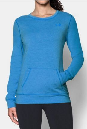 Women's Under Armour Cozy Crew. Say hello to comfort and fit. This sweatshirt is the perfect layering piece with a vest or over a tank at the gym. Warm, lightweight and built to keep you dry.