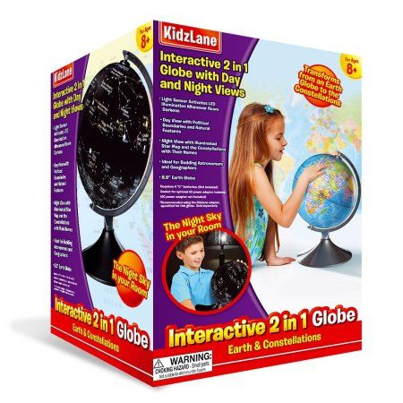 Interactive Globe for Kids, 2 in 1, Day View World Globe and Night View Illuminated Constellation Map