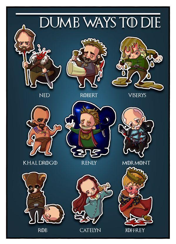Dumb Ways to Die: Funny Game of Thrones Digital... | Game of Thrones Fan Art