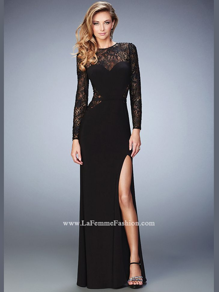 La Femme 22281 Lace Long Sleeves Formal Prom Dress