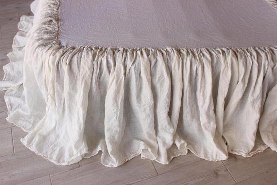 Linen Bedskirt Dust Ruffle Split Corners Organic Etsy Linen