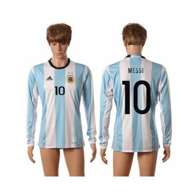 Argentina 2016 MeSSi 10 Hjemmebanetrøje Langærmet.  http://www.fodboldsports.com/argentina-2016-messi-10-hjemmebanetroje-langermet.  #fodboldtrøjer